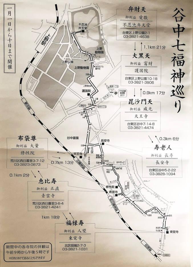 谷中七福神-地図